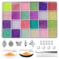 glass seed beads started kit small craft beads seed beads with tool kit for diy craft earring bracelet jewelry making supplies