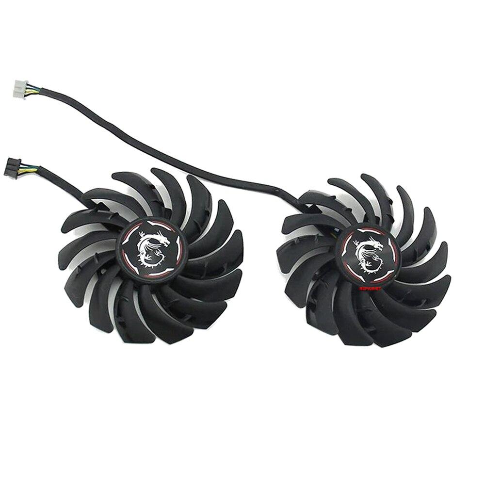 2 قطعة/المجموعة 90 مللي متر (85 مللي متر) RTX2060 RTX2060S GPU برودة بطاقة جرافيكس مروحة PLD09210S12HH ل MSI RTX2060/2060S الألعاب Z/X فيديو التبريد