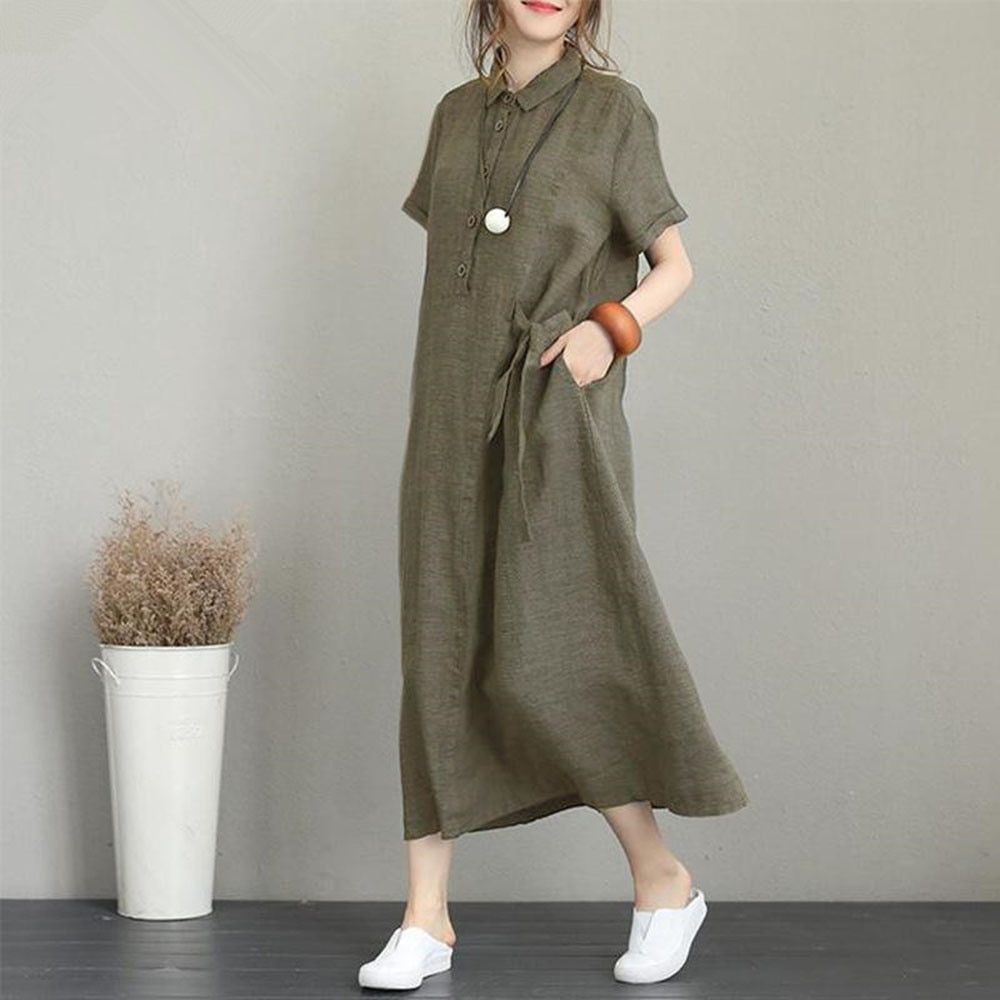 Japanese Style Solid Color Lapel Summer Pocket Loose Casual 2021 Summer New Simplicity Temperament W