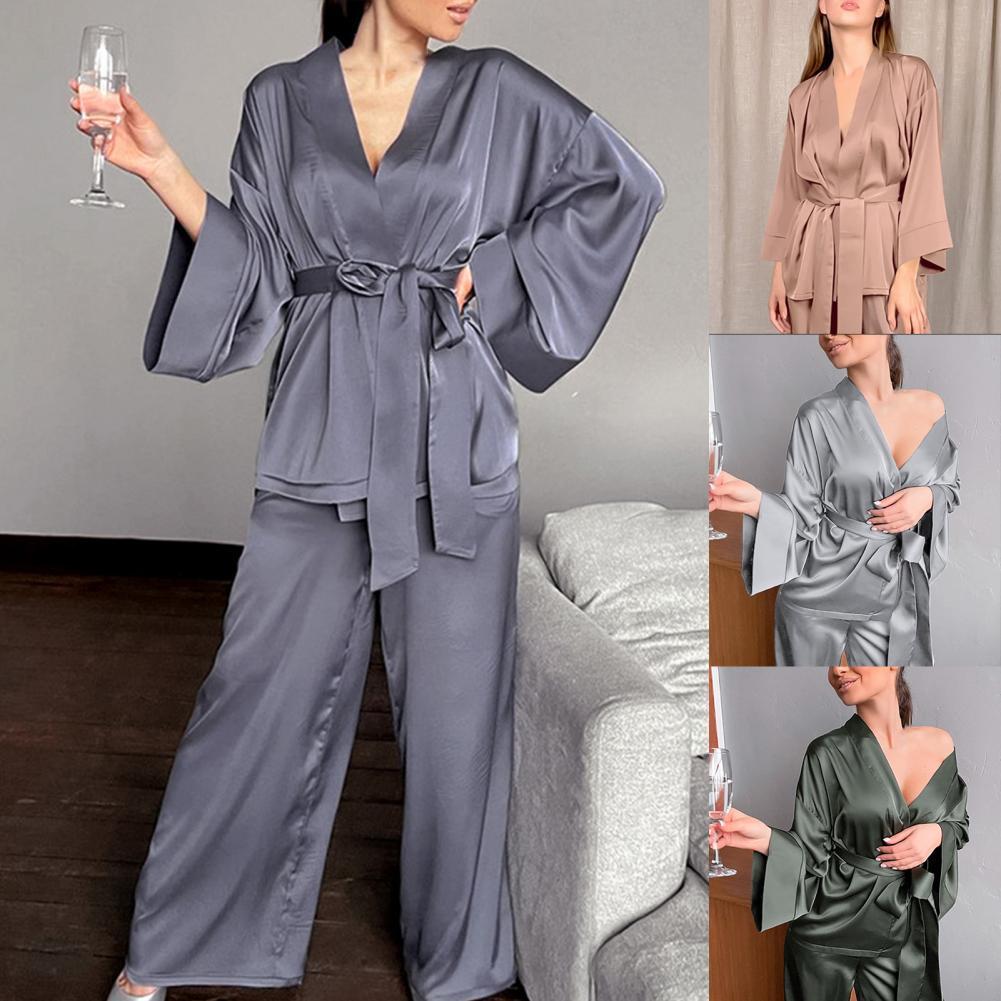 ملابس النوم منامة الخامس الرقبة بلون قطعتين مجموعة سترة طويلة الأكمام منامة للمنزل بيجاما