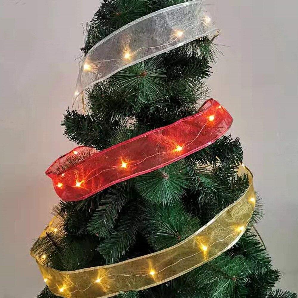 6.3cm * 2m camadas duplas fitas de fita de cetim para artesanato luz quente led fita de natal ouro prata vermelho decoração da árvore de natal