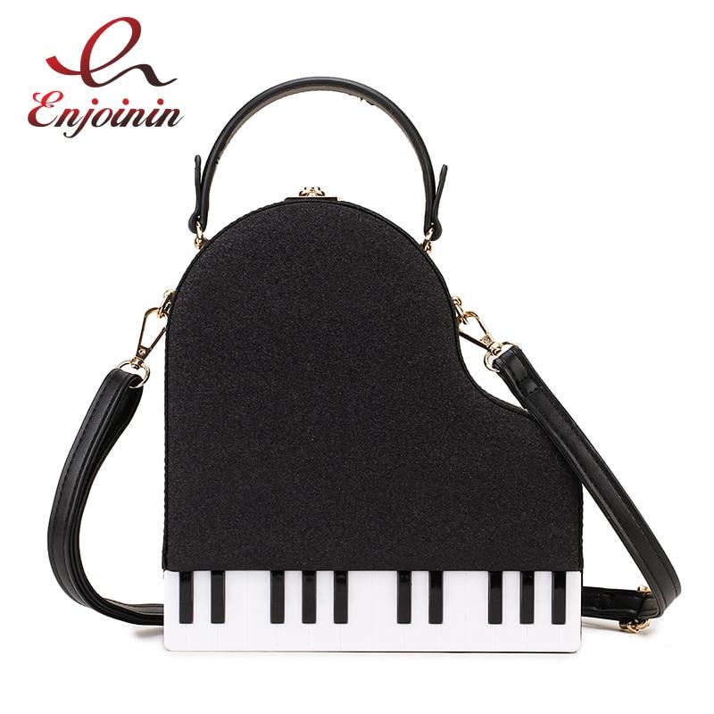 موضة البيانو نمط السيدات صندوق الشكل حقيبة يد حقيبة كتف المحافظ الطرف حقائب بيد تقاطعية للسيدات للنساء حقيبة أنيقة بولي Leather الجلود
