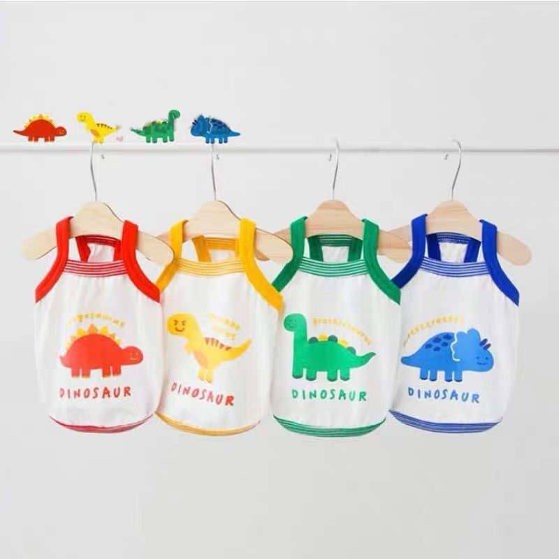 Summer Dog Clothes Cartoon Dinosaur Printing T-shirt Vest For Small Medium Puppy Cotton Yorkshire Shih Tzu Outdoor Wholesale