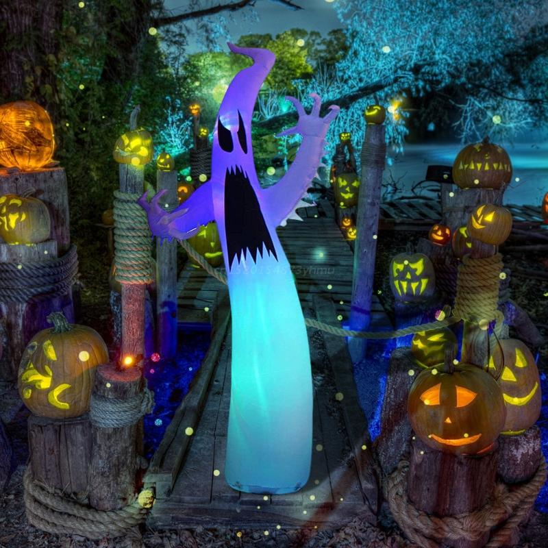 Halloween Inflatable Decorations Giant Terrible Spooky Ghost Outdoor Holiday Decor Blow Up Lawn Yard with LED Lights