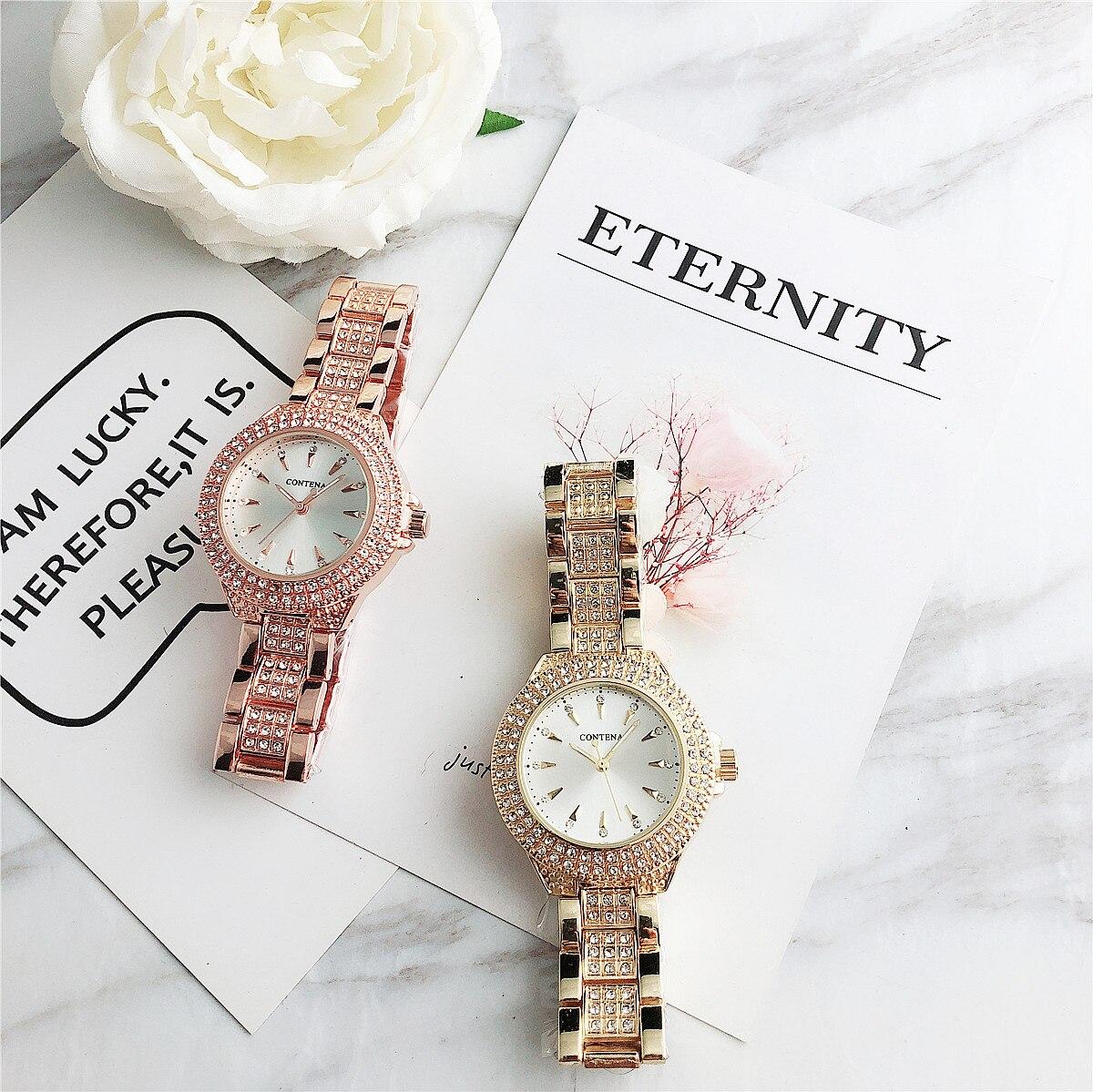Contena nouveaute montres cuarzo Mujer cristal Relojes Montre de lujo Mujer damas strass