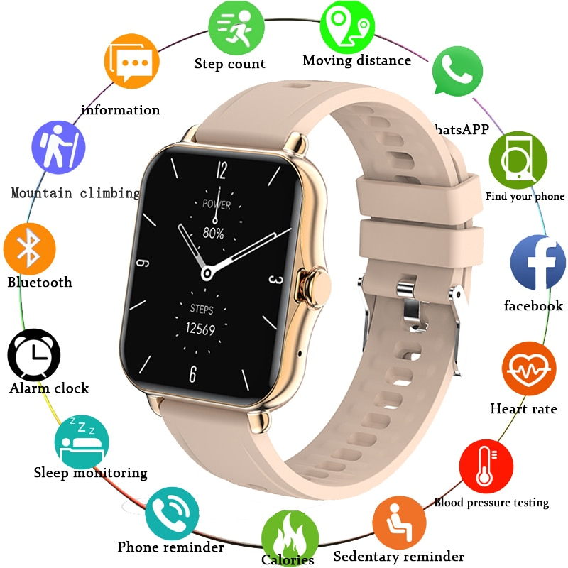 LIGE Smart Watch 2021 New 1.7 Inch Full Touch Screen Men Smartwatch Heart Rate Women Fitness Bracele