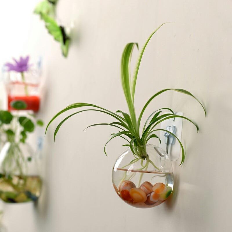 Florero de flores de cristal colgante de moda cuenco de pez dorado transparente terrario contenedor hogar Decoración de jardín