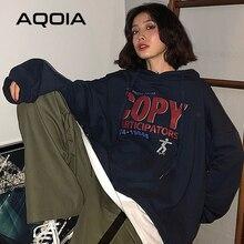 AQOIA automne Harajuku lettre impression sweat à capuche pour femme ample sweat-shirt mince faux deux pièces 2020 Style coréen surdimensionné sweat-shirt