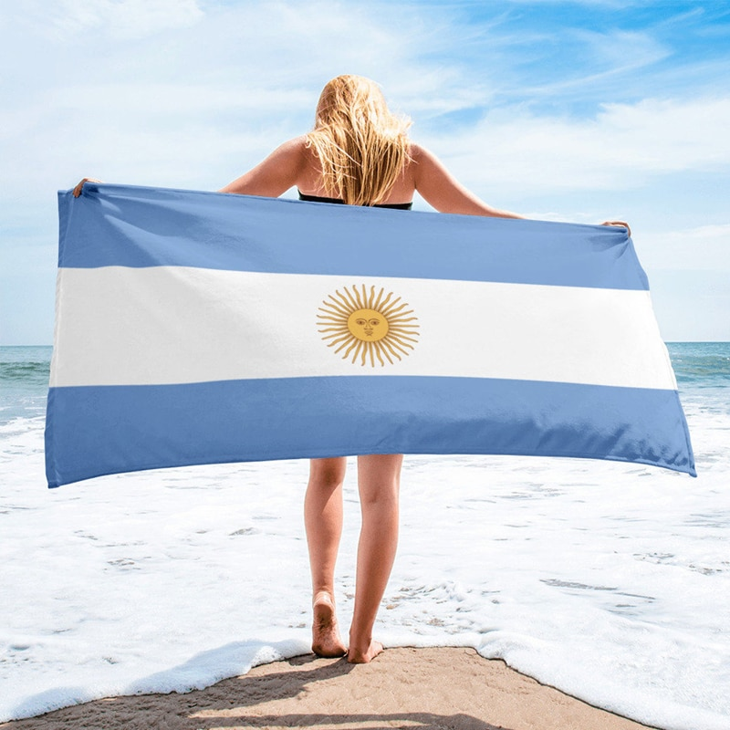 Argentina Flag Printed Beach Towel Outdoor Bath Towel Yoga Mat Microfiber Fabric Beach Towel For Adults