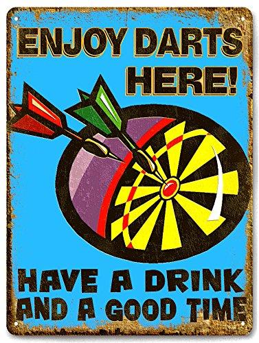 DART BOARD metal sign drinks / beer VINTAGE style bar pub mancave wall decor