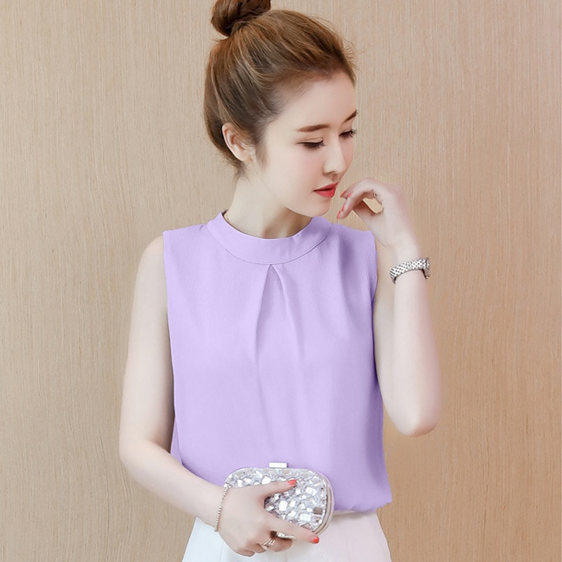 Summer Fashion Sleeveless Chiffon Women Loose Fitted Blouse Purple Round Neck Sleeveless Top blue crossed back design round neck sleeveless top