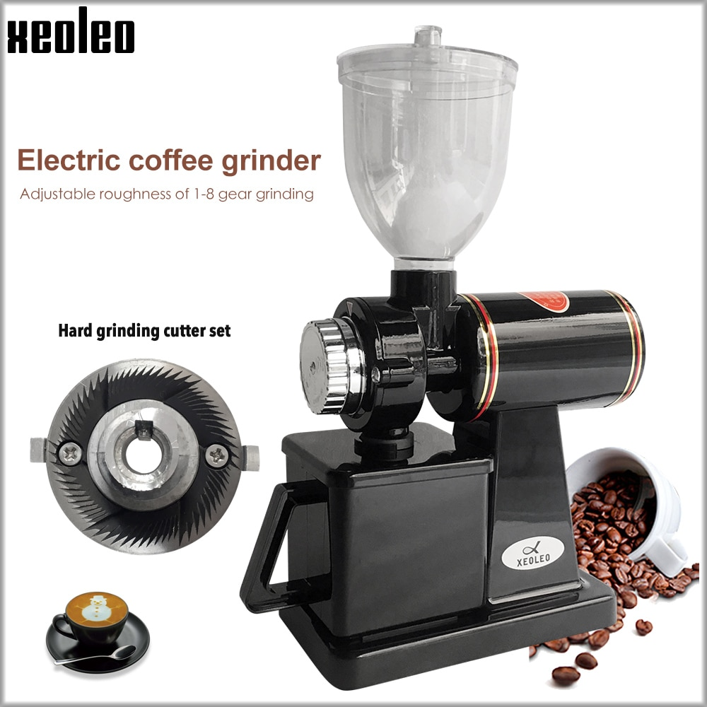 Xeoleo مطحنة بن كهربائية 600N مطحنة القهوة آلة مطحنة حبوب القهوة آلة نتوءات مسطحة ماكينة الطحن 220 فولت أحمر/أسود