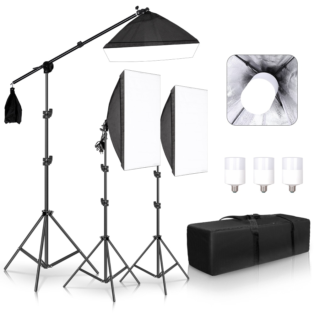 20W Photography Studio Lighting Kit Arm for Video and YouTube Continuous Lighting 50CM*70CM Professional Lighting Set Softbox