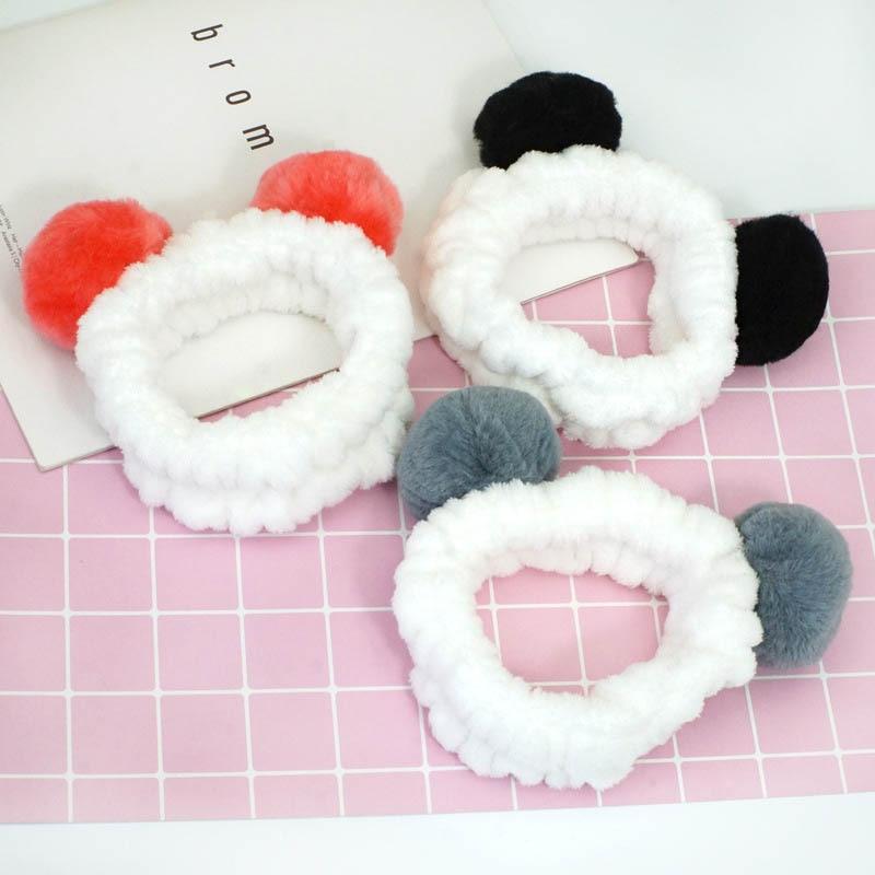 Coral blando Fleece Cute orejas de oso Panda Stretch vincha chica Wash Makeup Mask bandas de pelo Wraps Head Wraps mujeres Headwear accesorios para el cabello