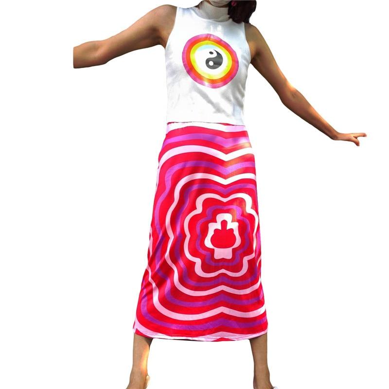 letter print split side night dress Summer Women Half Dress Striped Print Side Split Midi Skirt Y2k Straight High-waist Slimming Long Skirt Streetwear