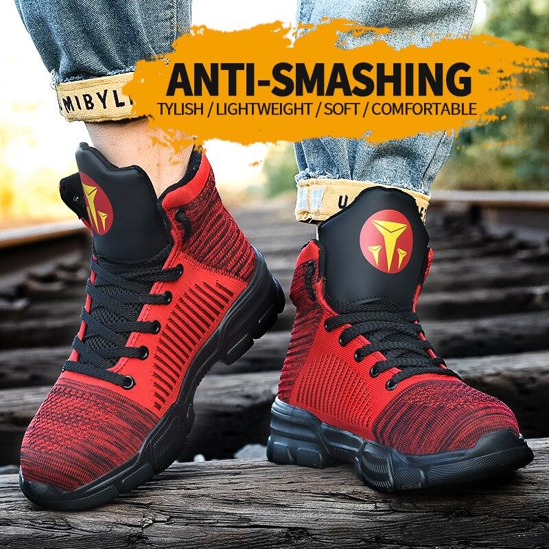 Botas de trabajo de seguridad para hombres, zapatos indestructibles con punta de acero, Zapatos, zapatillas antipinchazos, zapatos transpirables, botas de trabajo platfo 2020