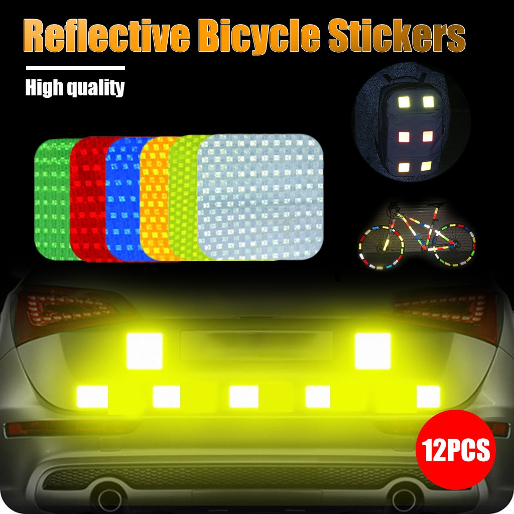 12 Uds calcomanías para bicicleta reflectantes para ciclismo, reflectores de advertencia, película adhesiva para ciclismo, calcomanías para bicicleta, decoración # y4