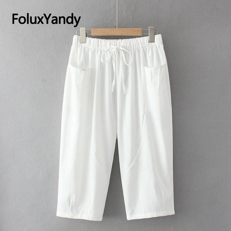 Теленок-Длина летние джинсовые штаны размера плюс штаны свободного кроя с эластичной резинкой на талии, повседневные штаны-шаровары средне...