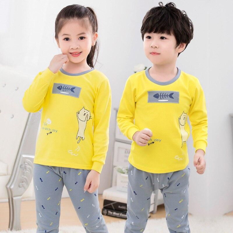 Прямая продажа с фабрики, детская одежда, хлопковый комплект нижнего белья для мальчиков и девочек на весну и осень, P