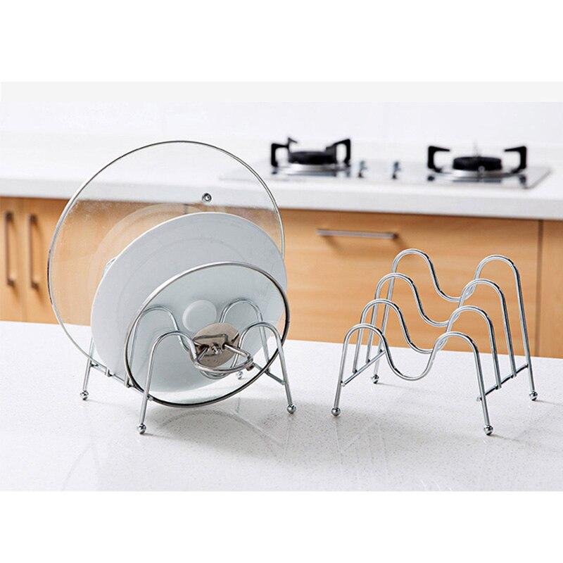 Soporte de Metal para cubierta de sartén, Base de drenaje, tabla de cortar, soporte de cuchillo, organizador, tapa de olla, almacenamiento de hierro, soporte de secado, utensilios de cocina
