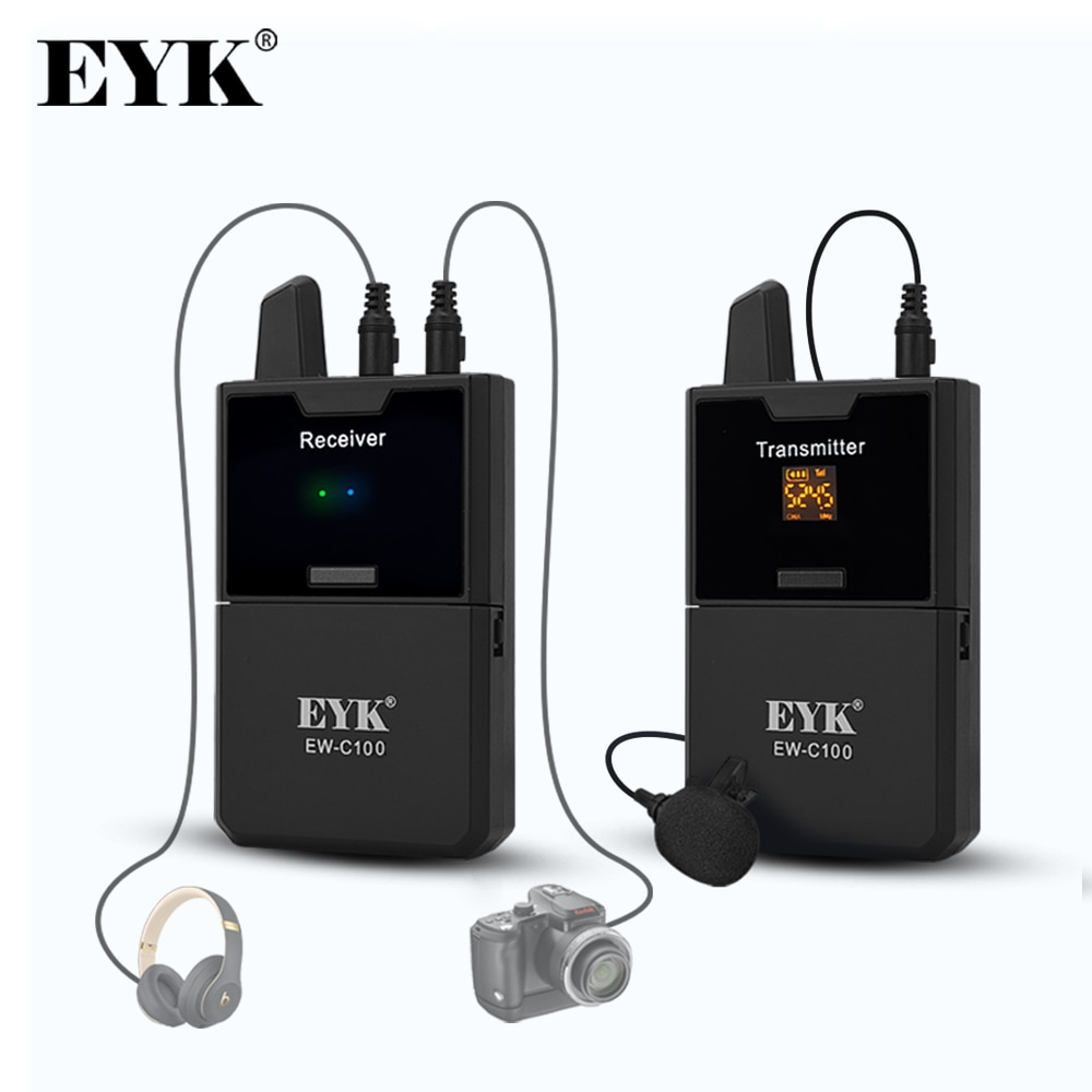 EYK EW-C100 Camera Mic Wireless Lavalier Microphone with Monitor Function UHF Wireless Lapel Mic for Smartphones DSLR Cameras xtuga wireless lavalier microphone professional uhf camera microphone with 30 selectable channels for slr camera dv camcorder