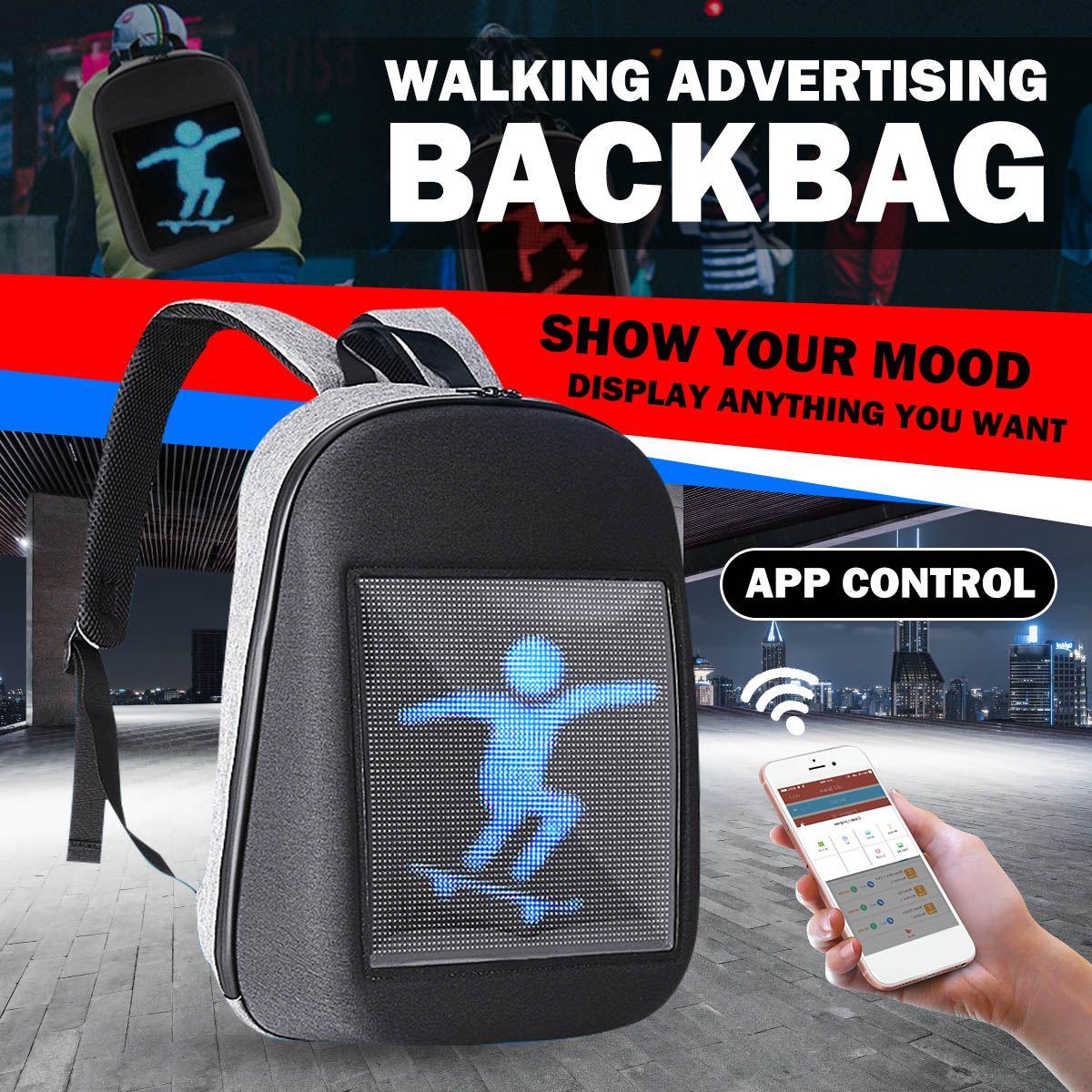 Personnalité écran LED dynamique publicité sac à dos bricolage WiFi LED ville marche publicité sac pour ordinateur portable lumière extérieure vélo