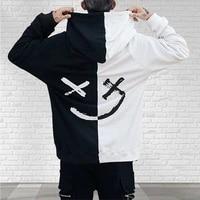 2021 men hoodies sweatshirts happy smiling face print headwear hoodie women patchwork hoodies hip hop streetwear hooded pullover