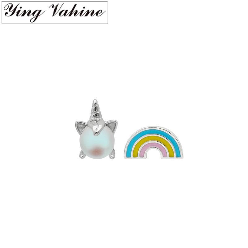 ying Vahine 100% 925 Sterling Silver Fantastic Animal Unicorn Rainbow Stud Earrings for Girls Kids Birthday Gifts