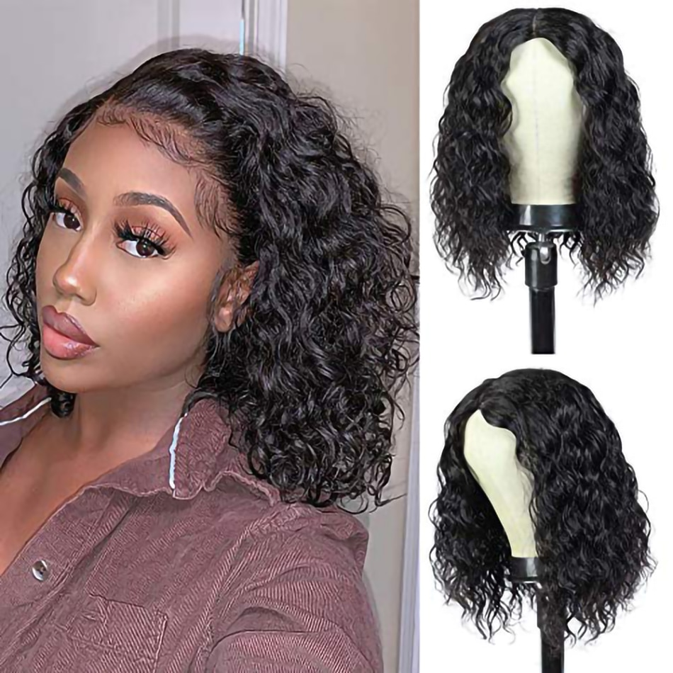 Deep Wave Short Bob Wig HD Lace Front Human Hair Wig Deep Curly Wig 4x4 Lace Closure Wigs For Black Women Glueless Wig Ramy