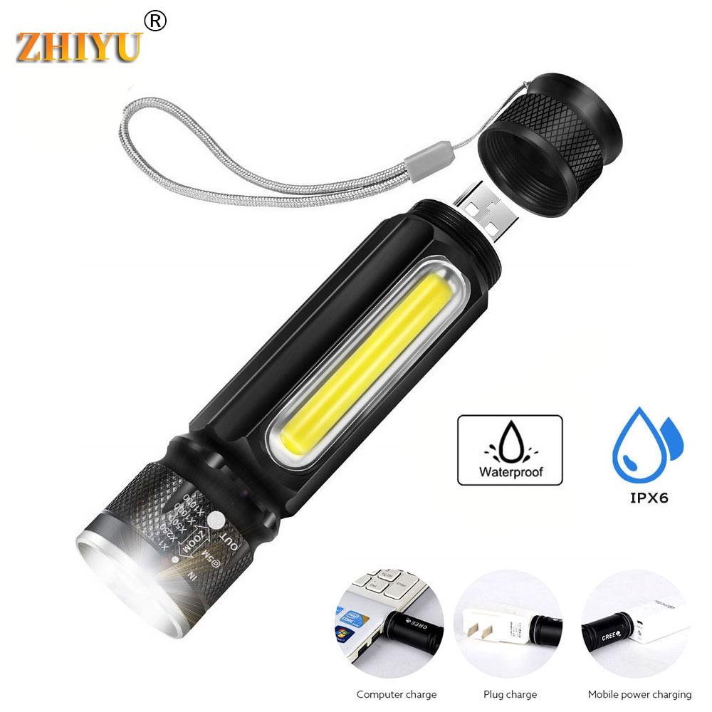 ZHIYU Многофункциональный светодиодный перезаряжаемая батарея для карманного фонаря Мощный T6 фонарь боковой COB свет linterna задний магнит рабоч...