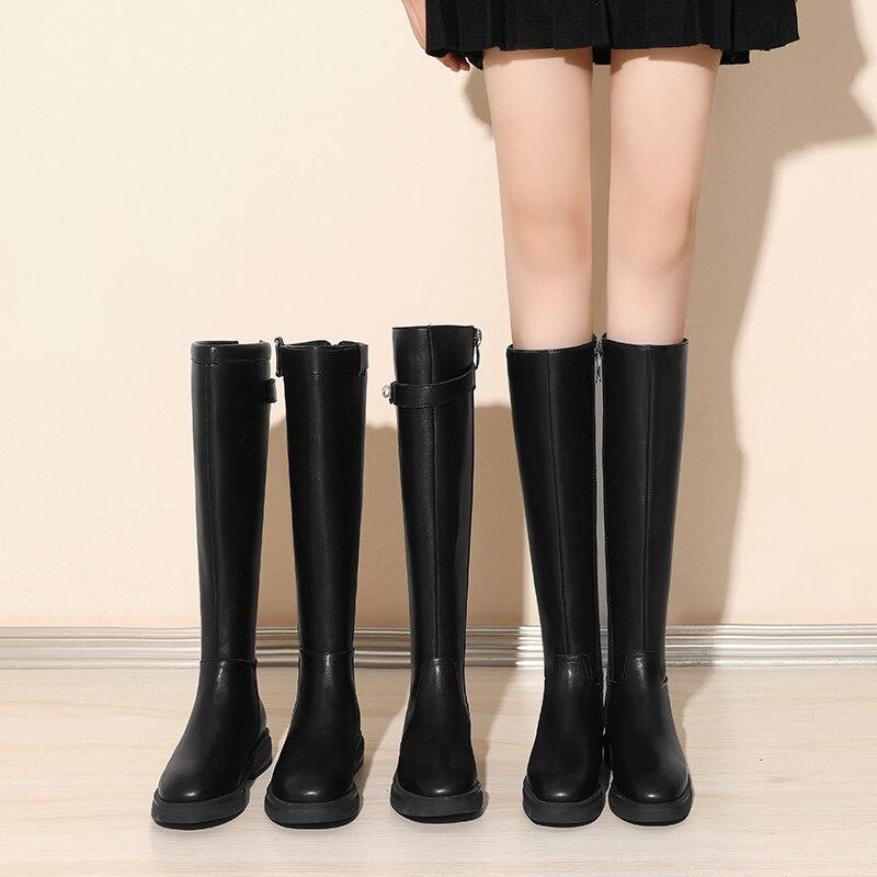 Botas por encima de la rodilla para mujer, botas altas negras sexis hasta el muslo, nuevas 2020, zapatos de tacón alto para otoño para mujer, botas de Invierno para mujer 043348