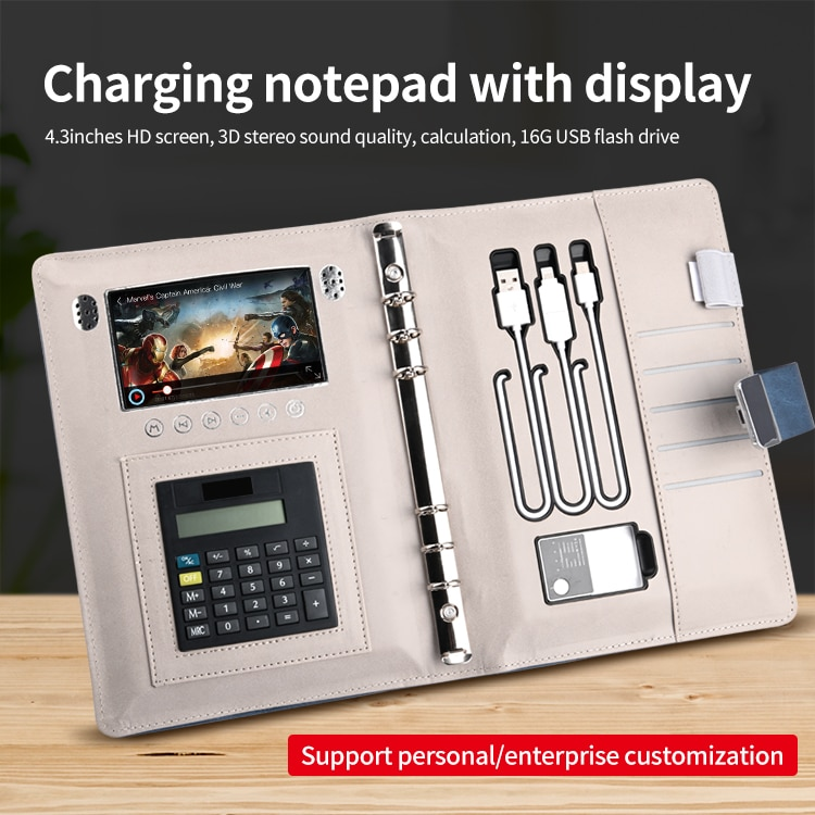 2021 Wireless Charger Advertising LED Media MP4 Video Players Display Fringer Print Lock Diary Planner Notebook With Power Bank