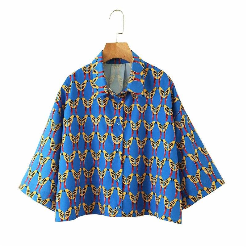 Летняя женская повседневная короткая блузка с принтом диких птиц za 2020 женская элегантная однобортная Свободная рубашка с коротким рукавом ...