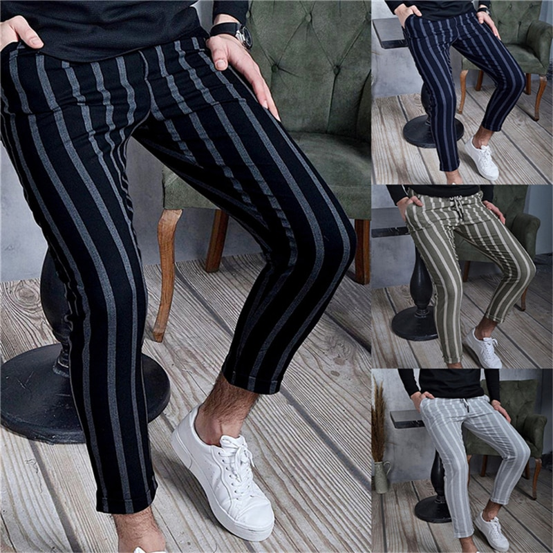 Fashion 2021 Summer Thin Striped Pants Men Brand New Slim Fit Hip Hop Mens Casual Harem Pants Streetwear Joggers Men Trousers