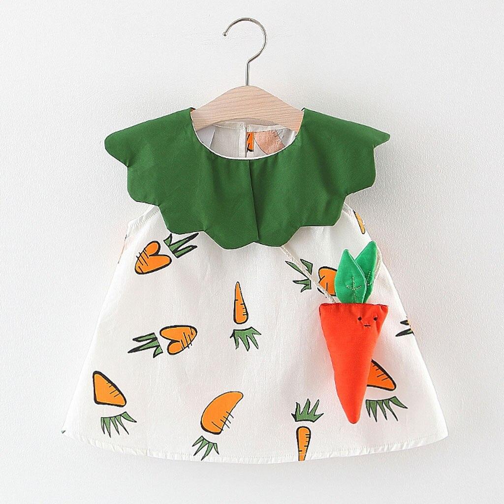 2 pçs da criança do bebê crianças meninas vestido + saco cenoura babados retalhos vestidos para a menina roupas casuais menina verao