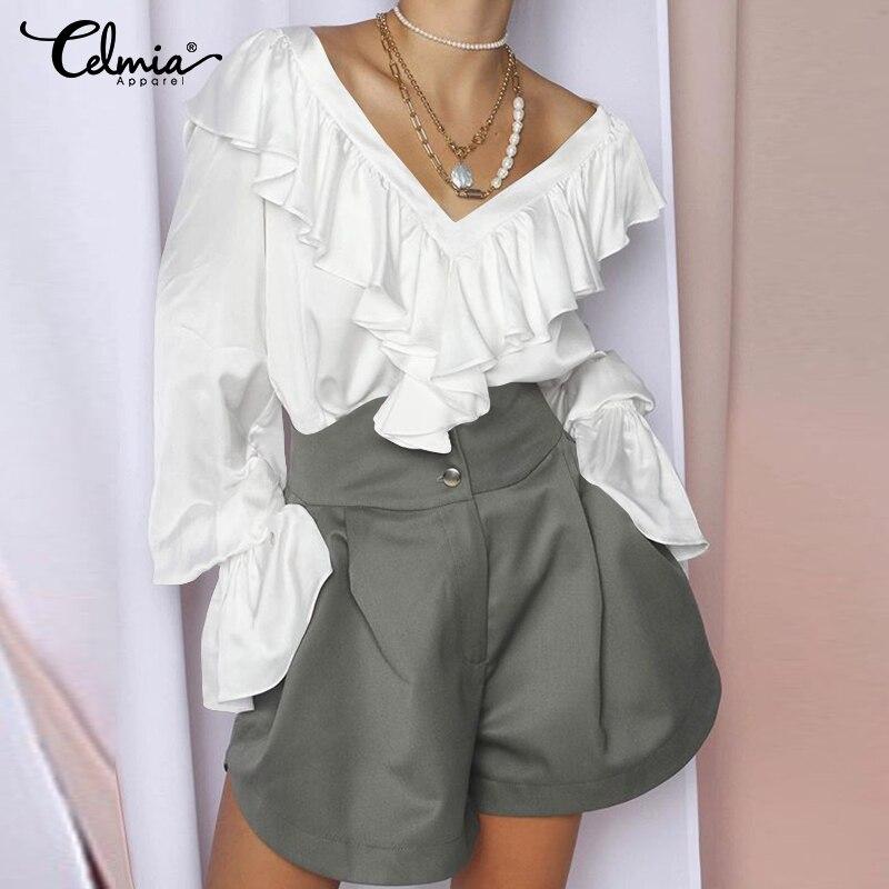 Celmia 2020 Mode Frauen Satin Bluse Sexy V-ausschnitt Süße Rüschen Shirts Elegante Seide Büro Damen Tops Langarm Blusas 5XL