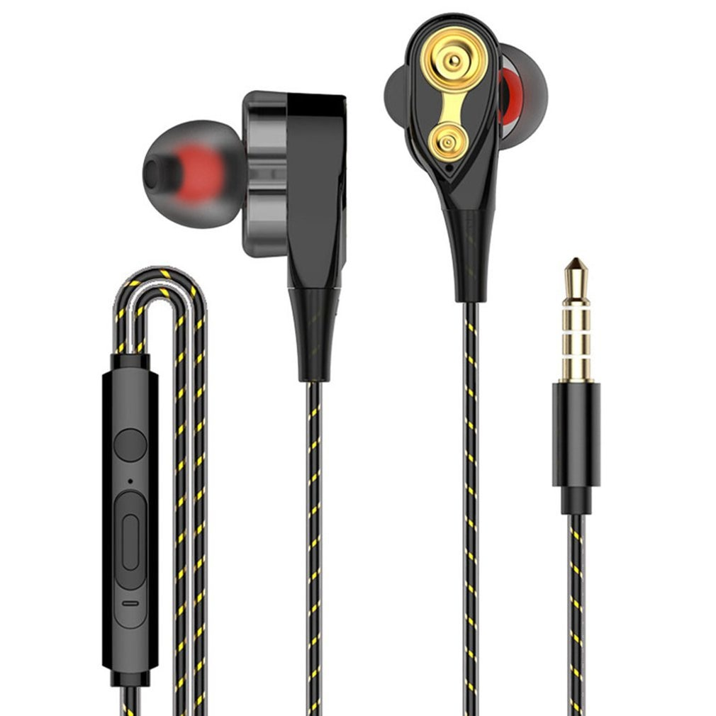 3.5mm Earphones With Microphone Dual Drive Stereo Wired Earphone In-ear Sport Portable Headset In-Ea