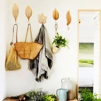 nordic style wrought iron hook leaf shape wall hanger bathroom organizer for towel clothes home decoration hanging storage rack