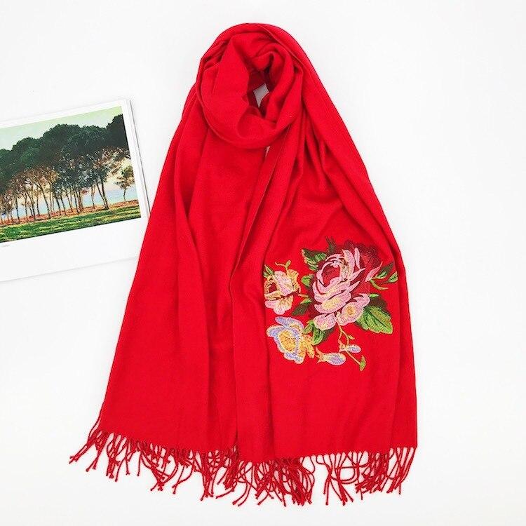 Marca de luxo cachecol grosso inverno feminino cachecol quente cashmere ouro peônia bordado borla xale envoltório cobertor hijab cachecol pashmina