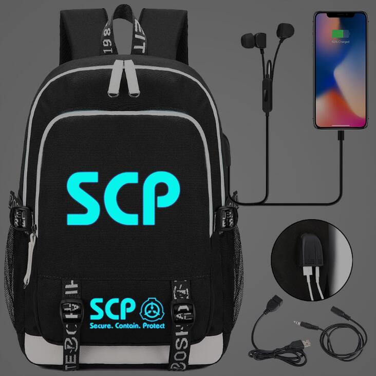 SCP seguro contiene Mochila De Protección USB bolsa de viaje escuela luminosa libro bolsa USB adolescentes Laptop bolsa de cremallera que brilla en la oscuridad