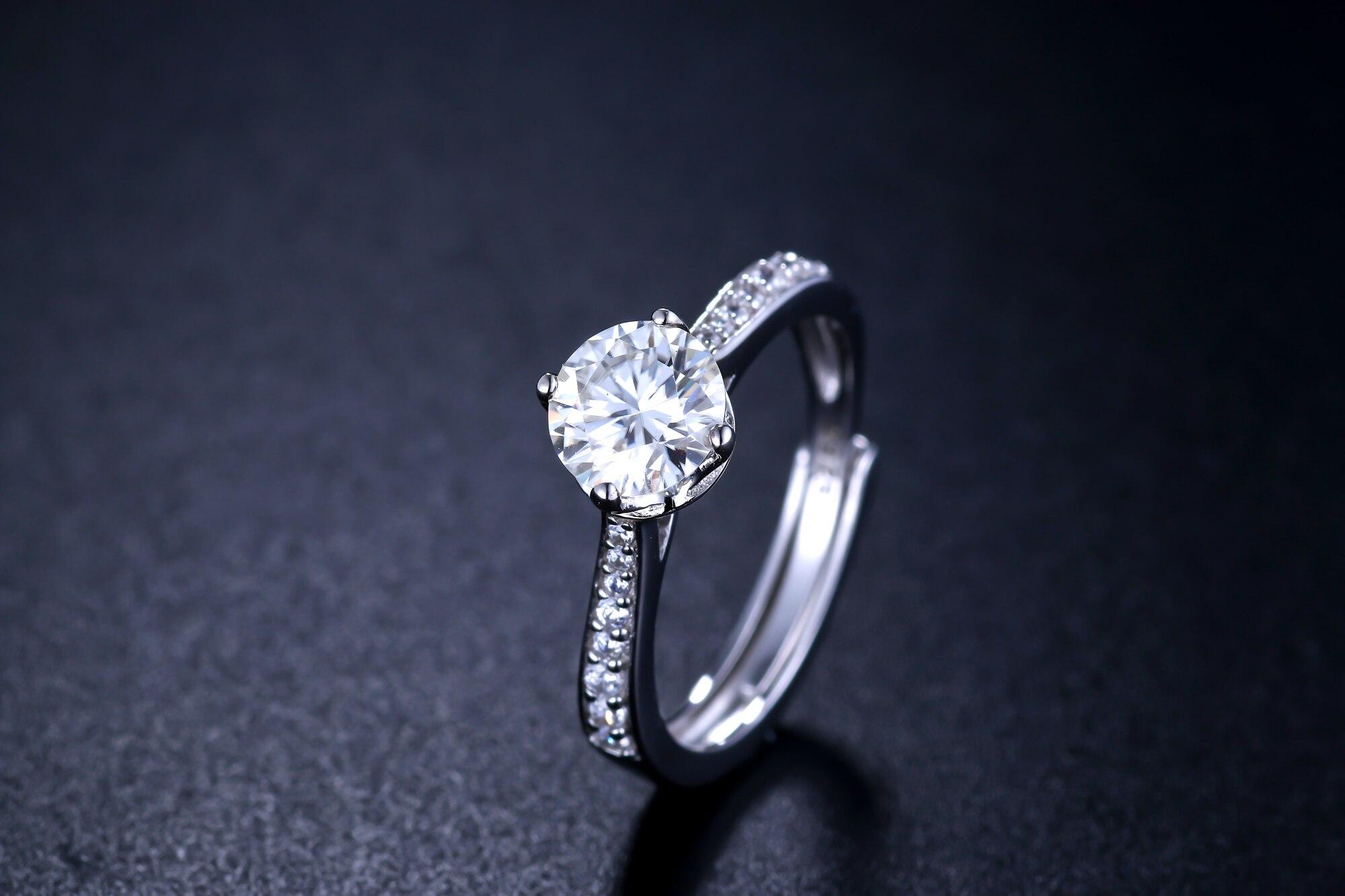 Anillo de plata para mujer, anillo de moissanita de lujo 1ct D VVS, anillo de plata para mujer