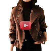 autumn fashion multifunctional double sided commuter temperament drawstring slim multifunctional wool jacket