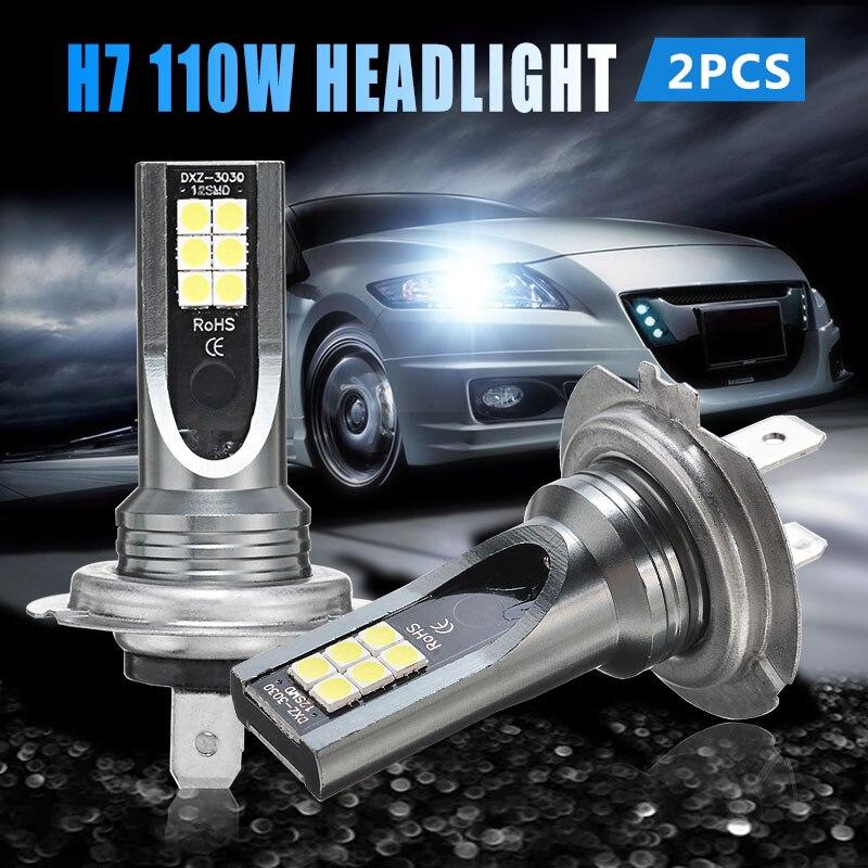 2pcs H7 110W LED Car Auto Headlight Head Lamp 11000LM Fog Lights Conversion Kit Super Bright Bulb White 6000K