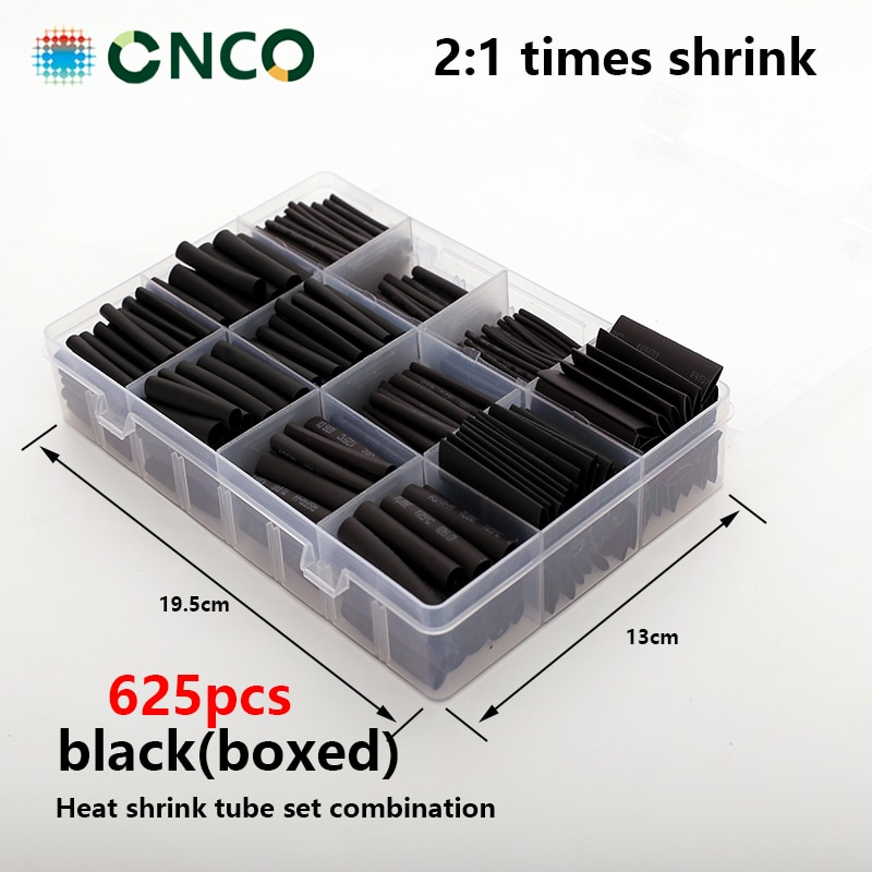 625pcs Black boxed heat shrink tube Thermoresistant tube, Tube Sleeving Wrap Wire shrink tube cables tube termoretractil