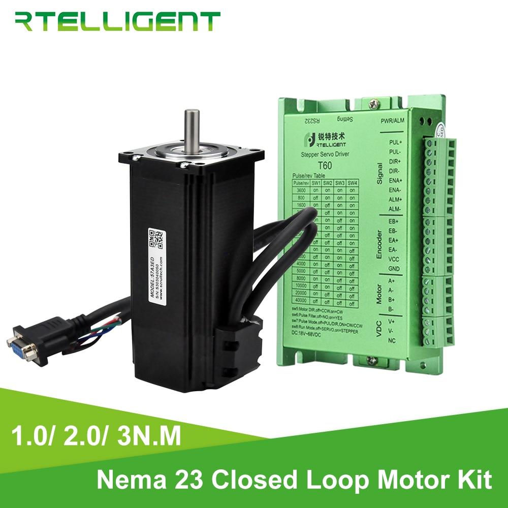 Rtelligent Nema 23 2N.M and 3N.M Closed Loop Stepper Motor with Stepper Driver Kit Nema23 Easy Servo Stepper Motor with Encoder