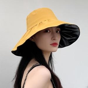 2021 Ladies Sun Hat Korean Black Glue Anti-UV UV Hat Foldable Big Brim Hat Show Face Little Fisherman Hat