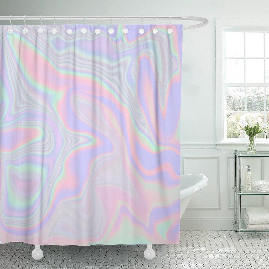Cortina de ducha holográfica abstracta en Color Pastel de neón para su moderno conjunto de tela de poliéster impermeable con ganchos