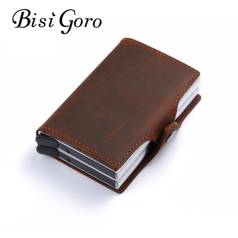 BISI GORO 2019 vintage genuine leather card holder rfid wallet aluminum unisex crazy horse leather 2 metal credit card holder