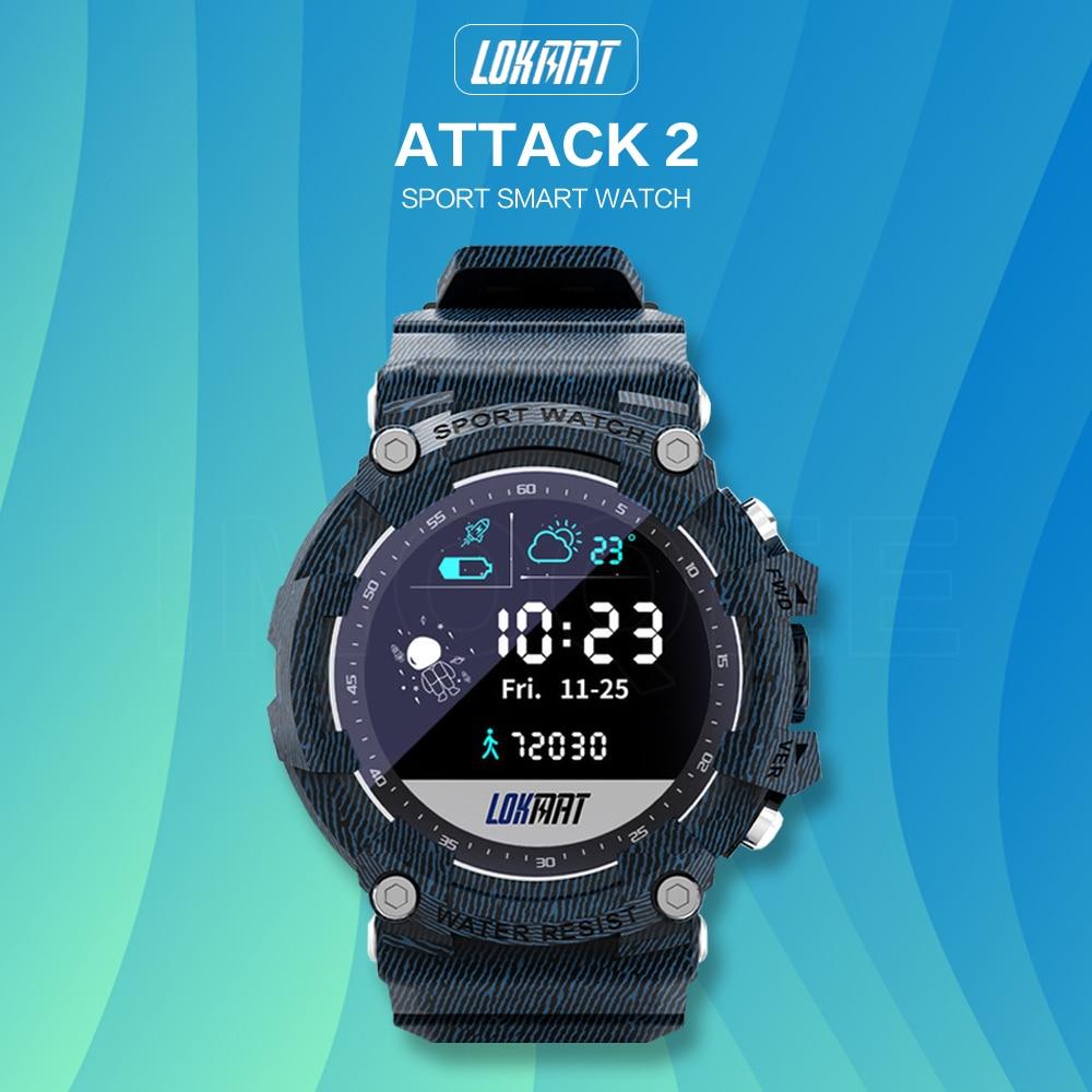 2021 جديد LOKMAT هجوم 2 الرياضة ساعة ذكية IP68 مقاوم للماء جهاز تعقب للياقة البدنية عداد الخطى السعرات الحرارية Smartwatch للرجال والنساء