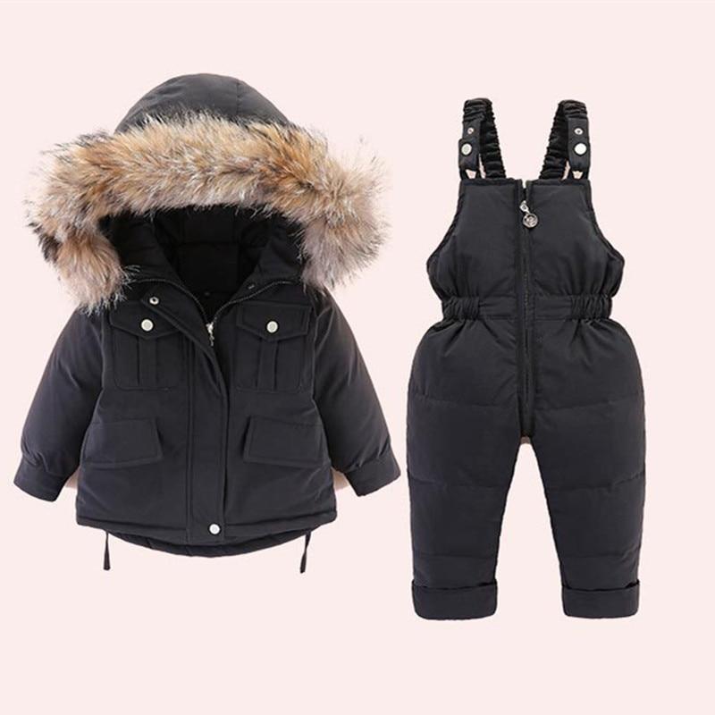 2020 inverno crianças conjunto de roupas para o bebê meninos meninas crianças terno de esqui macacão pato para baixo casaco quente snowsuits jaquetas + bib 2 peças conjunto